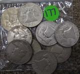 (9) Liberty Half Dollars