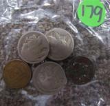 3 Indian Head Nickels, 2 Pennies