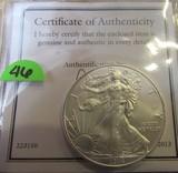 2013 United States of America 1oz Fine Silver One Dollar