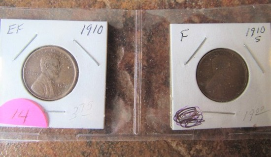 1910, 1910-S Lincoln Cents EF/F