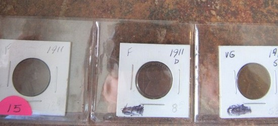 1911, 11-D, 11-S Lincoln Cents F/F/VG