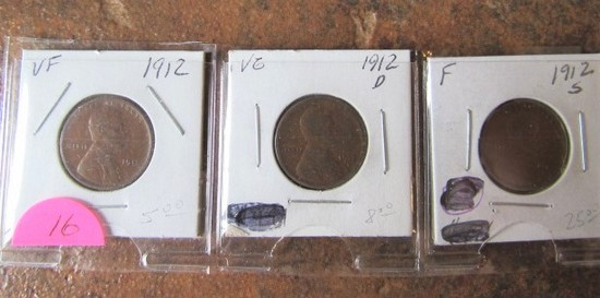 1912, 12-D, 12-S Lincoln Cents VF/VG/F
