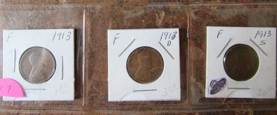 1913, 13-D, 13-S Lincoln Cents F/F/F