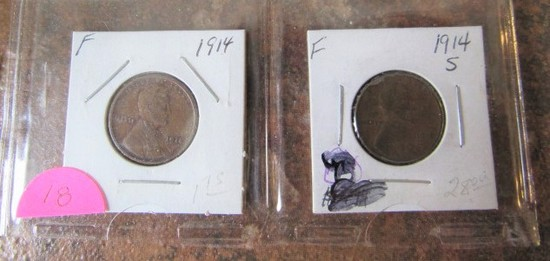 1914, 14-S Lincoln Cents F/F