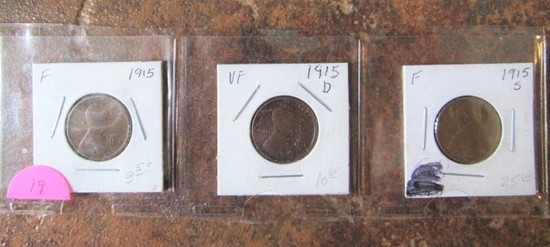 1915, 15-D, 15-S Lincoln Cents F/VF/F