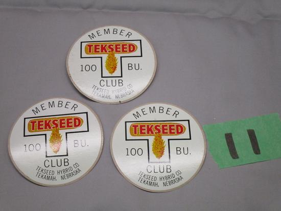 Old Tekseed Seed Corn 100 Bushel Club Stickers