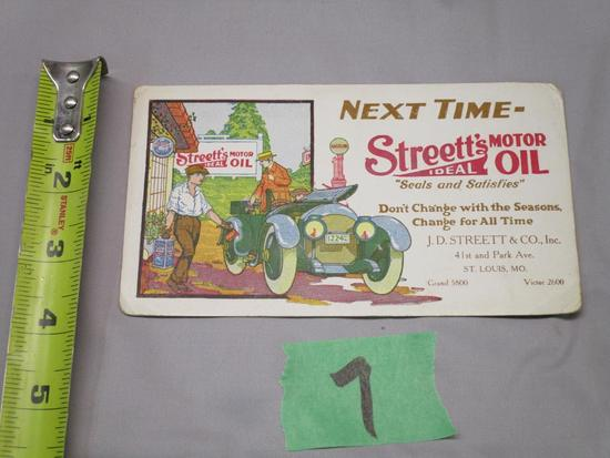 Very Rare Streett's Motor Oil Ink Blotter