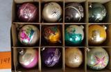 12 Vintage Glass Christmas Ornaments