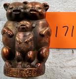 3 Little Pigs Pot Metal Bank