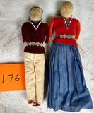 2 Beaded Indian Dolls
