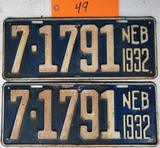Pair of 1932 License Plates