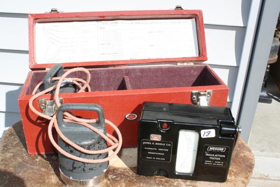 Rare Antique Megger Insulation Tester, works