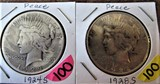 (2) 1924-S, 1928-S Peace Dollars