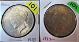 (2) 1922, 1923 Peace Dollars