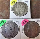 (3) 1880-S, 1891-O, 1896 Morgan Dollars