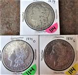 (3) 1879, 1879-O, 1890-S Morgan Dollars