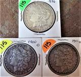 (3) 1886, 1900-O, 1901-O Morgan Dollars