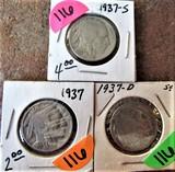 1937, 37-D, 37-S Buffalo Nickels