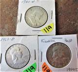 (3) 1954-D, 1962-D, 1963-D Franklin Half Dollars