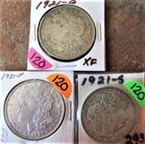 (3) 1921-D XF, 1921-P, 1921-S Morgan Dollars