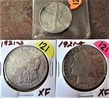 (3) 1942 Half Dollar, 1921-S, 1921-S Morgan Dollars