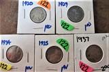 1920, 29, 34, 35, 37 Buffalo Nickels