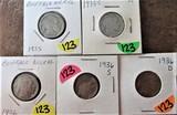 1935, 35-S, 36, 36-S, 36-D Buffalo Nickels