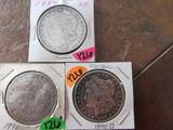 (3) 1887, 90, 90-O Morgan Dollars