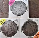 (3) 1880-S, 1881-O, 1881 Morgan Dollars