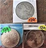 (3) 1899-O, 1890, 1880-S MS62 Morgan Dollars