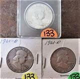 (3) 1963, 1960-D, 1961-D Half Dollars