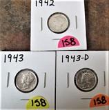 1942, 1943, 1943-D Mercury Dimes