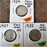 1934, 1935, 1937 Buffalo Nickels