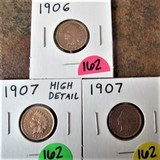 1906, 1907, 1907 Indian Cents