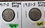 1917-S, 1931-S Buffalo Nickels