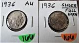 1936, 1936 AU Slider Buffalo Nickels