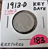 1913-D Key Date Buffalo Nickel