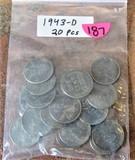 1943-D 20 Piece Steel Cents