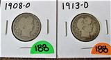 1908-O, 1913-D Quarters