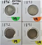 1891, 92, 93, 96 Liberty Nickels