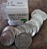 (20) 1922 Circulated Peace Dollars