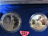 US Liberty Proof Set Silver Dollar 1986