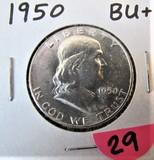 1950 BU+ Franklin Half Dollar