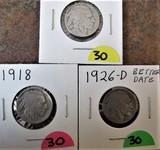 1918, 1923-S, 1926-D Buffalo Nickels