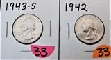 1942, 1943-S Quarters