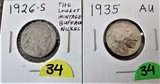 1926-S, 1935 AU Buffalo Nickels