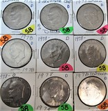 (5) 1978-D, (4) 1976-D Ike Dollars