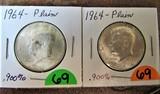 (2) 1964 Half Dollars