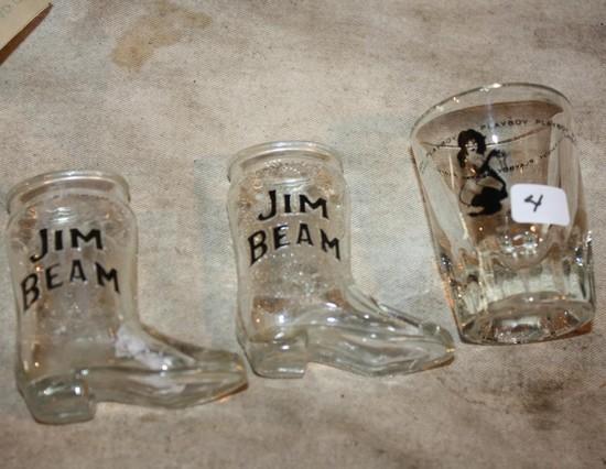 (3) Jim Beam and Playboy Shot Glasses