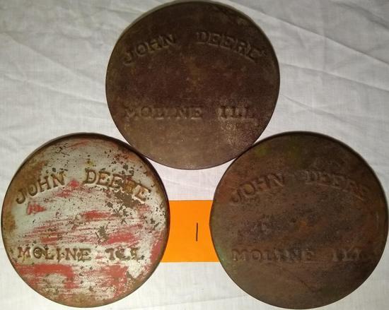 3 John Deere Pressed Steel Planter Lid